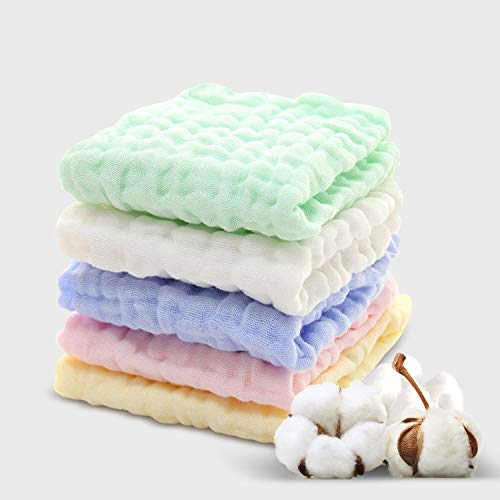 Baby Muslin Washcloths(12x12 Inches,5 Colors)-100% Natural Cotton Baby Wipes-Super Soft Face Towel for Sensitive Skin-Baby Register Shower Gift!