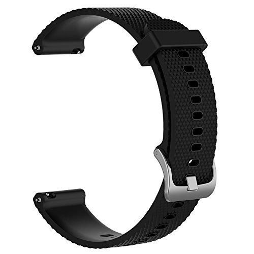 Bandas de repuesto para Garmin Vivoactive 3 / Vivomove / Vivomove HR Fitness Watch 20 mm Correa de silicona suave ajustable Quick Release Accesorio Watchband (Negro, L)