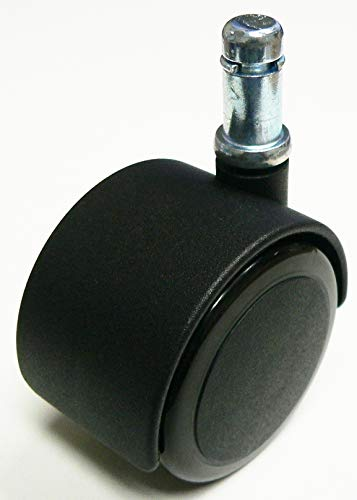 """Oajen 2"""" 50mm Soft Wheel Chair Caster with 3/8"""" x 1"""" Grip Ring, Pack of 5"""