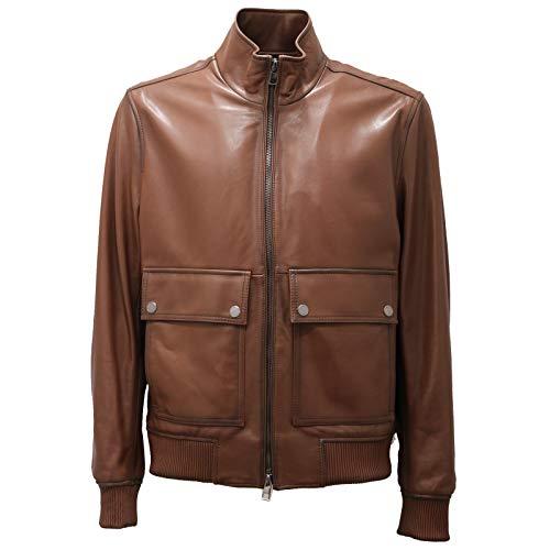 Michael Kors 4589AD Giubbotto Pelle uomo Brown Leather Jacket Men [S]