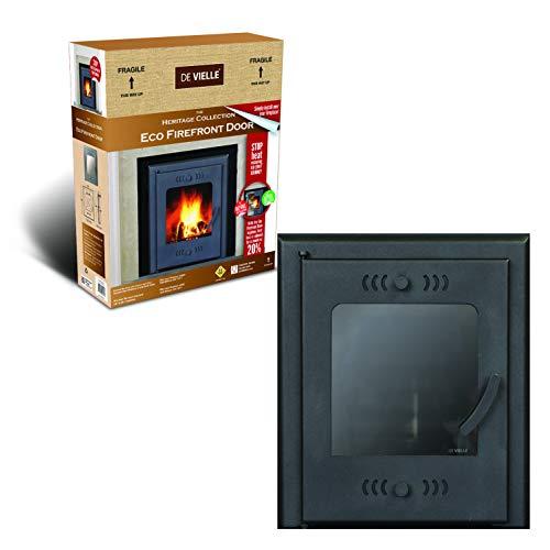 De Vielle Eco Fire Puerta Delantera ahorrador de Combustible sólido, Metal, Color Verde Oscuro