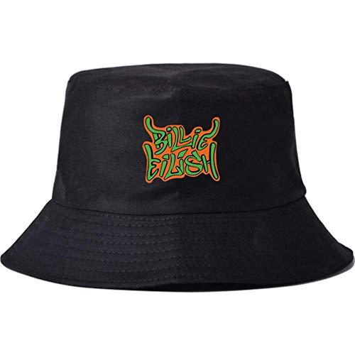 LJXJ Billie Eilish Cappello da Pescatore Giapponese con Stampa a Colori Puri Intorno al Semplice Cappello da Sole,Black