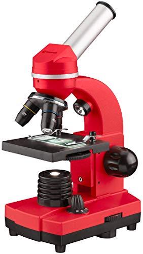 Bresser Junior Schülermikroskop BIOLUX SEL mit Smartphonehalter, reichhaltigem Zubehör und Barlow-Zoom-System für Kinder, Einsteiger und Erwachsene, rot