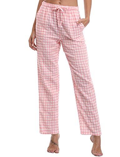 Aibrou Damen Schlafanzughose Pyjamahose Nachtwäsche Hose Baumwolle Lang Sleep Hose Pants Kariert Rosa XL