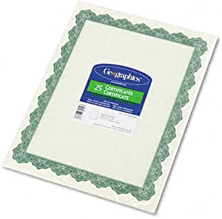 Geographics : Parchment Paper Certificates, 8-1/2 x 11, Optima Green Border, 25 per Pack -:- Sold as 2 Packs of - 25 - / - Total of 50 Each