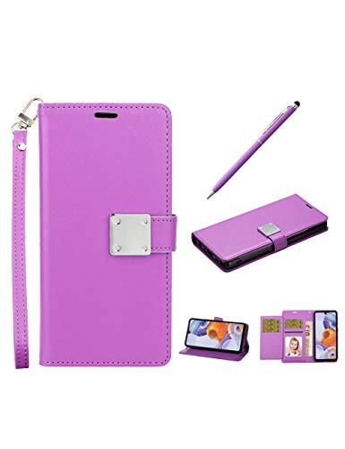 LG stylo 6 Case, LG Stylo 6+ Plus (2020) Case with Wrist Strap, Luxury PU+TPU Wallet, Folio Flip Leather Cover with Credit Card Slots, Kickstand Feature, Protective Case with Stylus Pen (Purple)