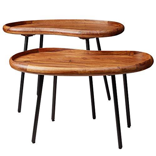FineBuy Couchtisch Set FB52620 Sheesham Massiv Satztisch Nierenform mit Metallbeinen | Wohnzimmertische Massivholz | Kleine Nierentische Echtholz | Stubentische Holz | Beistelltisch-Set Modern