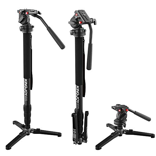 KINGJOY Video Monopod Kit, with Fluid Head and Removable Tripod Feet, 69 inch Max Height 22lbs Max Load for DSLR Cameras, MP3008+KH-6750