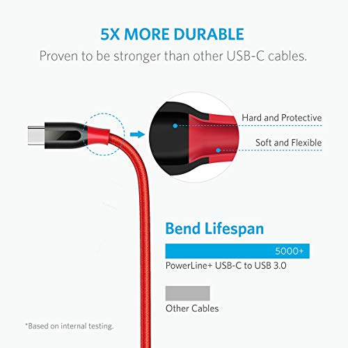 Anker Powerline+ 1.8m USB C Kabel auf USB 3.0 A, Nylon Ladekabel für USB Typ-C Geräte Inklusive Galaxy S8, S8+, S9, MacBook, Sony XZ, LG V20 G5 G6, HTC 10, Xiaomi 5 und weitere (Rot)