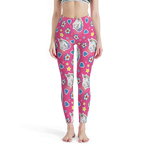 Gamoii - Leggings de yoga para mujer, diseño de flores y unicornio, corte ajustado blanco XXXL