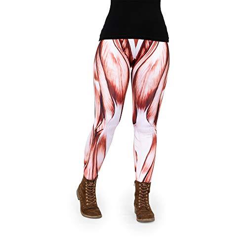 Pealu Leggings Damen Fullprint Muskel Einheitsgröße XS-L Passgenaue Trainingshose Jogging-Hose Sport Freizeit