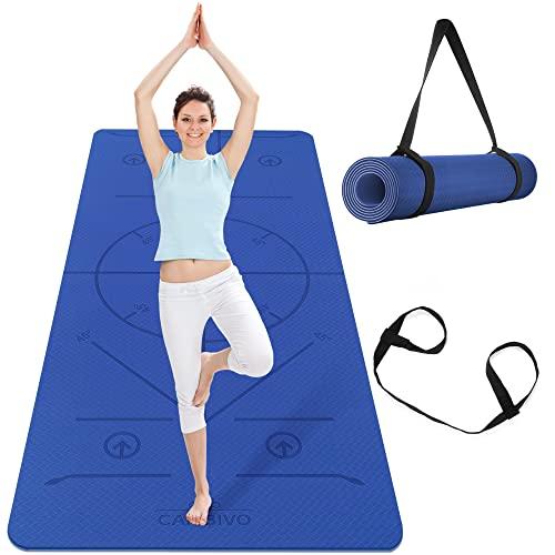 CAMBIVO Tappetino Yoga Extra Largo 183cm×81cm×6mm, Tappetino Fitness, Tappetino Fitness Palestra TPE Materiali per Esercizi per Yoga, Pilates, Allenamenti