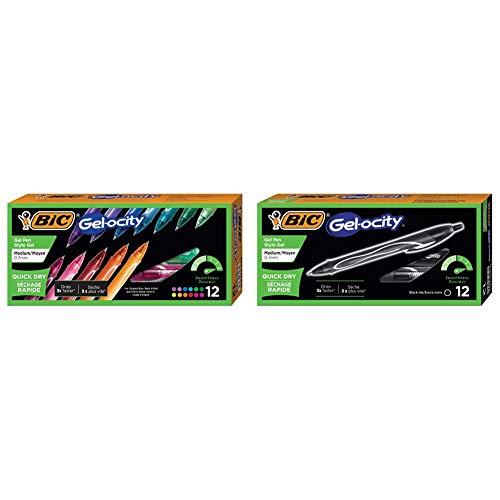 BIC Gel-Ocity Quick Dry Gel Pens, Medium Point Retractable Gel Pen (0.7mm), Assorted Colors, 12-Count & Gel-Ocity Quick Dry Gel Pens, Medium Point Retractable (0.7mm), Black Ink Gel Pen, 12-Count