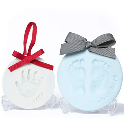 Baby Leon Footprint Ornament Kit   White + Blue Clay Molds &...
