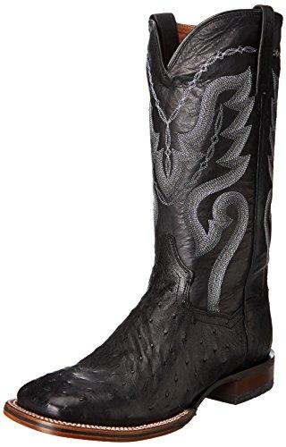 Dan Post Boots Mens Chandler Ostrich Square Toe Cowboy Casual Western Cowboy Shoes, Black, 13