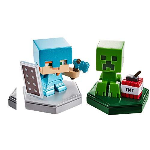 MINECRAFT- EarthBoost Confezione con 2 Mini Personaggi con Chip NFC, Giocattolo per Bambini 6+ Anni, GKT43