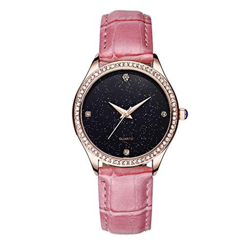 Reloj de mujer Señora Relojes Vestido de Moda Mujer Niñas Reloj Casual Movimiento de Cuarzo Una Correa de Piel Blanca, Rojo (Color: B)