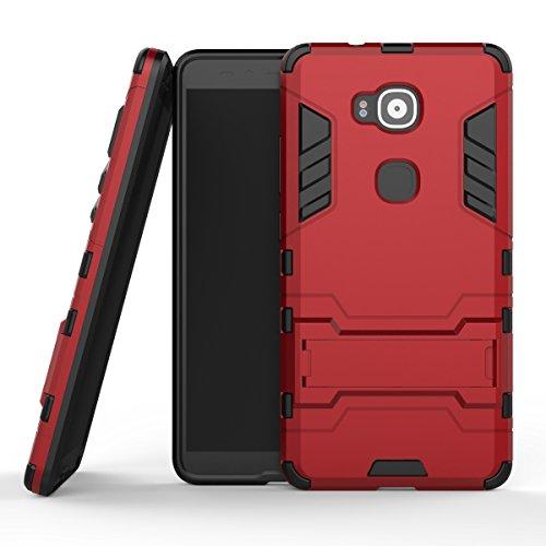 Ycloud Funda Libro para Huawei G7 Plus / G8 / GX8 (5.5 Pulgada) teléfono Strongest a Prueba de Golpes Armadura Doble protección de Concha Protectora de Duro Soporte Cubierta Protectora Vino Tinto