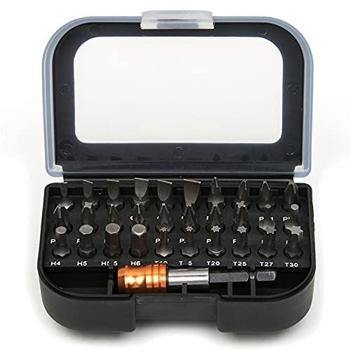 31PCS 1/4'Accesorios para herramientas eléctricas y destornilladores manuales Juego de puntas de destornillador profesional Estuche de cabeza hexagonal Torx