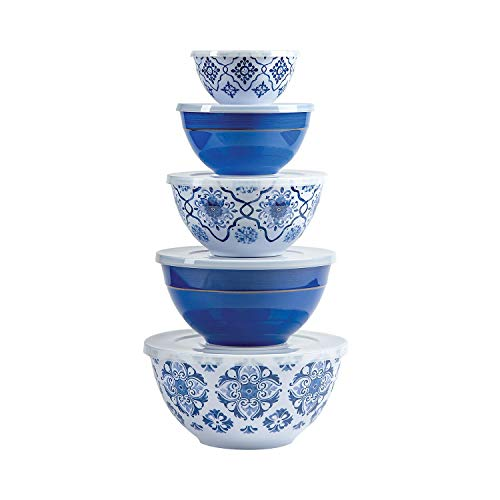 Multicolor Melamine Bowl Set with Lids 10-Piece (French Country)