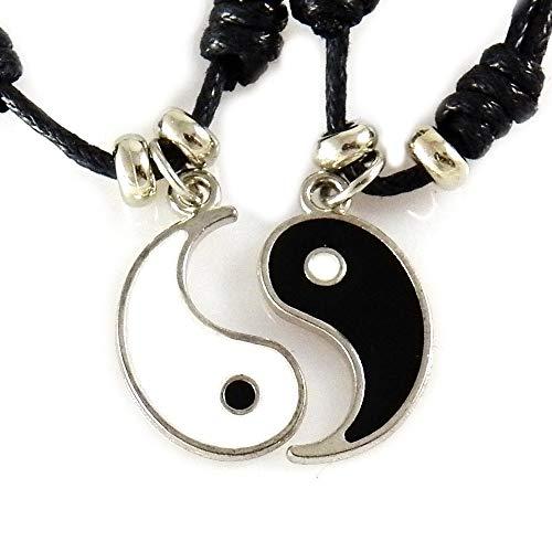 AKIEE Collar Yin Yang para Hombre Mujer Niños Niñas Ajustable Colgante Taichi Collar Pareja Mejores Amigos best friends (Black/white 2 CM)