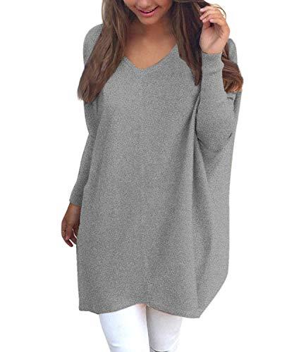 YOINS Femmes Pulls Couleur Unie Manches Longues Col V Sweater Tricoté Tops Long Pullover Large Blouse,B-gris,S