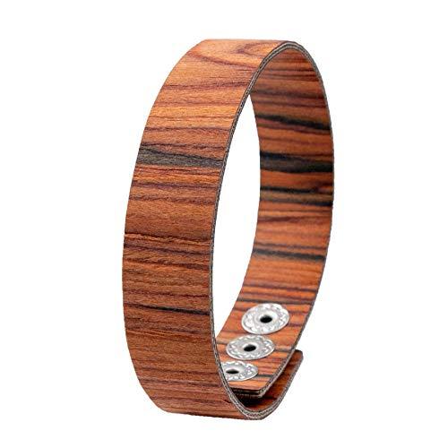 LAiMER Holzarmband - Damen & Herren Armband/Armreif aus Feinem Holz - Größenverstellbar 55-65 mm Durchmesser aus Rosenholz 15 mm breit