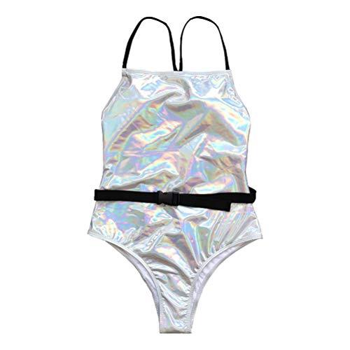 Maiô de praia Valicclud de cor lisa sexy frente única com clipe de cintura, Balconette, Prata 4, 92X78X1CM