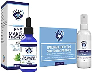 Demodex Relief Kit with Tea Tree Oil Face Soap, Tea Tree Oil Eye Makeup Remover and Eyelid Moisturizer, and Heyedrate Hypochlorous Acid Eyelid Cleanser
