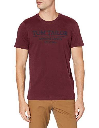 Tom Tailor Basic Logo-Print Camiseta, 11333 Dusty Wildberry Red - Juego de Mesa [Importado de Alemania], XXL para Hombre