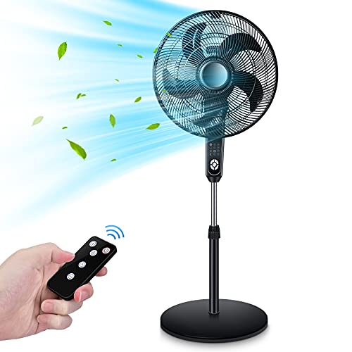 Pedestal Fan, Oscillating Fan with Timer Function, Powerful 4 Speeds, 3 Wind Modes, Remote Control, Large Standing Fan, Adjustable Height and Tilt, 2 in 1 Cooling Fans for Bedroom, Home, Patio