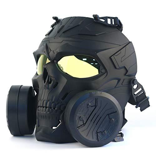 HAOYK Taktische Airsoft Paintball CS Game Mask Tactical Skull Maske mit Doppelventilator (gelb, schwarz)