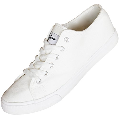 Womens Canvas Slip On Boat Shoe Loafer Sneaker, White, 10