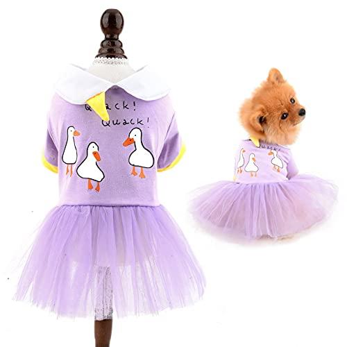 SMALLLEE_LUCKY_STORE Vestido de princesa para perro pequeño, gato, niña, lindo, patos blancos,...