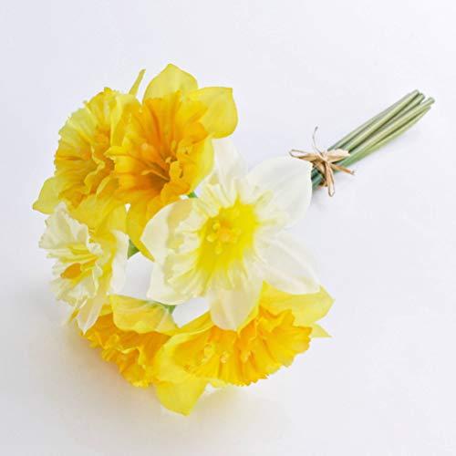 artplants.de Künstlicher Narzissenbund LELA, 6 Blüten, gelb - weiß, 35cm - Kunstblumenstrauß - Unechter Osterglocken Strauß