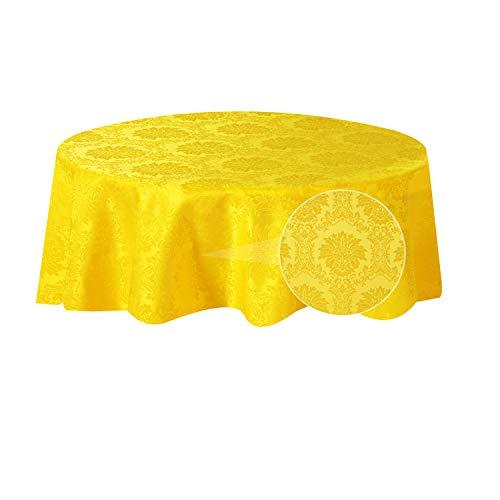 sancua Damaststoff Runde Tischdecke 152,4 cm, Falten-, Flecken- und Wasserabweisende Tischdecke, Tischabdeckung Schutz für Esszimmertisch, Party, Bankett, Innen- und Außenbereich, Gelb