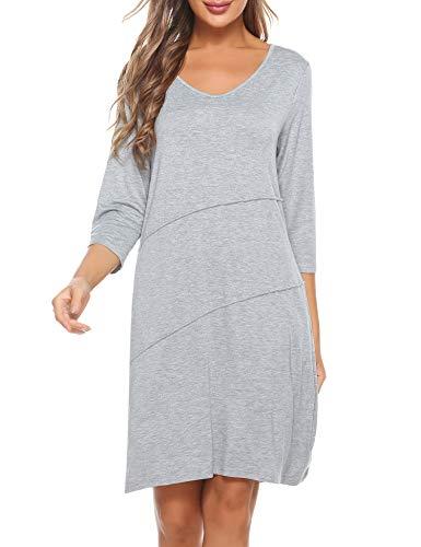 Akalnny Camicia da Notte Donna Cotone con 3/4 Manica, Vestito da Notte Premaman Scollo V Sexy Pigiama con 2 Tasche in Materiale Morbido