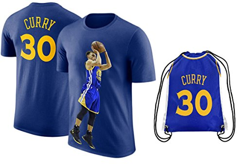 UNK Steph Curry Blue Basketball T-Shirt Jersey Style Kids Youth Sizes Premium Quality Gift Set (YM 8-10 Years, Gift Set)