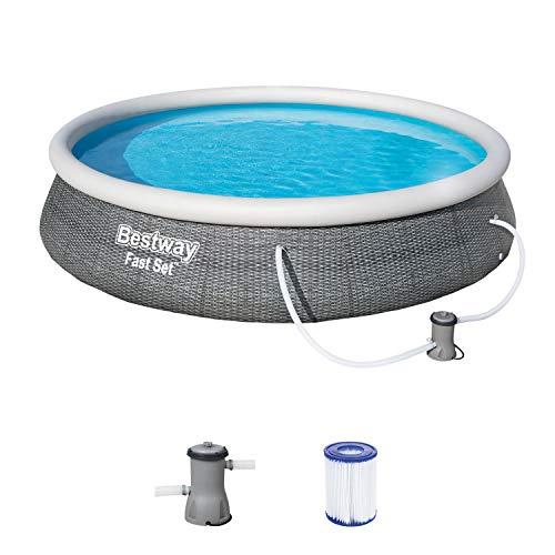 Bestway, 396 x 84 cm, Rattanoptik Fast Pool 396x396x84 cm, Gartenpool Set selbstaufbauend mit aufblasbarem Luftring, rund, mit Filterpumpe und Filterkartusche, Rattan Grau, 57376