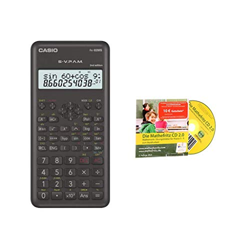 Casio FX-82MS 2 + Extensión de la garantía a 60 meses + Mathefritz CD de aprendizaje CALCUSO (alemán)