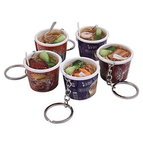 UKCOCO 5 Stücke Essen Schlüsselbund Mini Lebensechte Simulation Instant Nudeln Schüssel Schlüsselanhänger Schlüsselanhänger Tasche Handy Charme Anhänger für Gastgeschenke Geschenke (Verschiedene Stil)