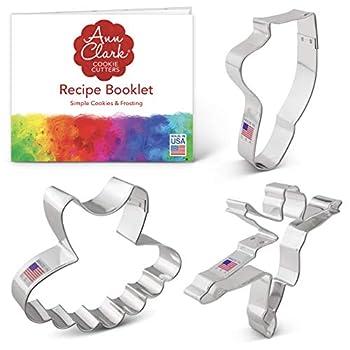 Ann Clark Cookie Cutters 3-Piece Ballet/Dance Cookie Cutter Set with Recipe Booklet Ballerina Tutu and Ballet Shoe