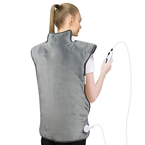 Heizkissen für Rücken Schulter Nacken,73 x 58 cm Elektrisch Wärmekissen mit Abschaltautomatik Heizdecke mit 6 Temperaturstufen und 4 Timing-Einstellung für Entlastung von Muskeln