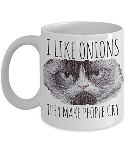 jingqi Taza Divertida del Gato gruñón 'Me Gustan Las cebollas Que Hacen Llorar a la Gente Taza de café del Gato gruñón' Taza de Meme del Gato Enojado Hace un Gran Gato EAZ9KE