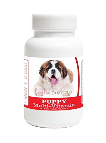 Healthy Breeds Puppy Multi-Vitamin Chewable Tables for Saint Bernard - Over 100 Breeds - Veterinarian Formulated Daily Dietary Supplement - Liver Flavored Treats - 60 Chews