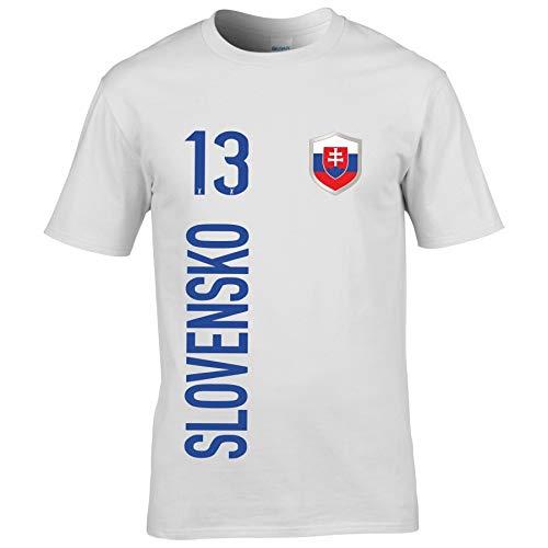 FanShirts4u Herren Fan-Shirt Jersey Trikot - SLOWAKEI/Slovakia/Slovensko - T-Shirt inkl. Druck Wunschname & Nummer WM EM (XXL, Slovensko/weiß)