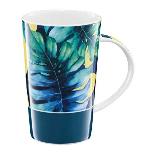 AMBITION mok Tropical 430 ml oranje drinkbeker porseleinen beker theebeker koffiebeker vaatwasmachinebestendig magnetron geschikt leuk cadeau-idee porselein modern meerkleurig plantmotief
