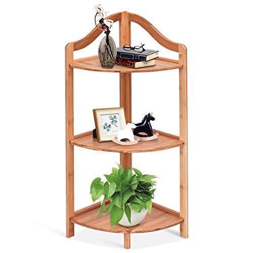 COSTWAY Eckregal Bambus, Badregal 3 Ebenen, Standregal für Küche Schlafzimmer Wohnzimmer, Bücherregal Büro, Pflanzenregal Dekoregal