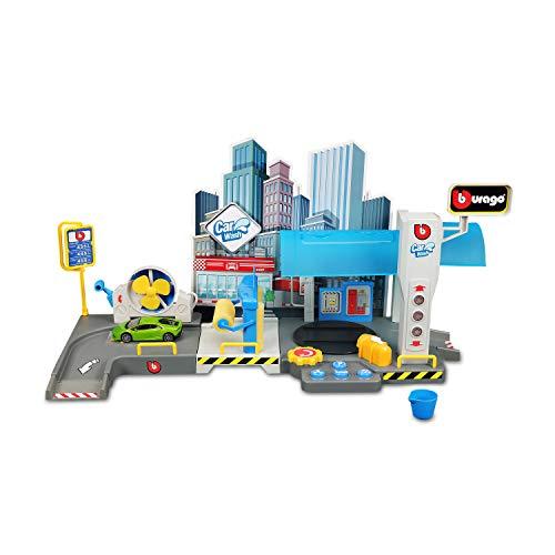 Bauer Spielwaren Bburago StreetFire (18-30406) zestaw do zabawy w myjni samochodowej, wraz z modelem 1/43
