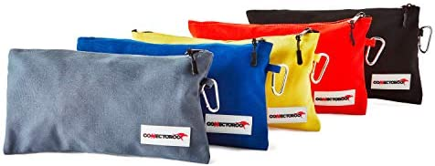 Canvas tool bag set of 5 Small bags pouch with zipper and carabiner clip Professional heavy product image